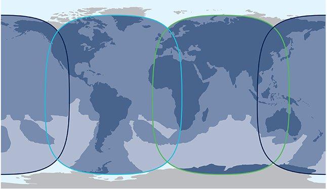 Mapa de cobertura de Inmarsat Global Express